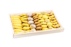 Different kinds of cookies in a cardboard box Stock Photography