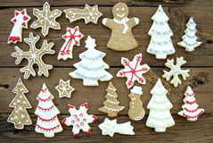 Different Kinds of Cookies on Wood Royalty Free Stock Images