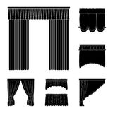 Different kinds of curtains black icons in set collection for design. Curtains and lambrequins vector symbol stock web. Different kinds of curtains black icons Stock Photos