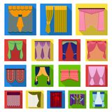 Different kinds of curtains flat icons in set collection for design. Curtains and lambrequins vector symbol stock web Royalty Free Stock Photos