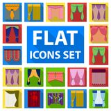 Different kinds of curtains flat icons in set collection  Royalty Free Stock Images