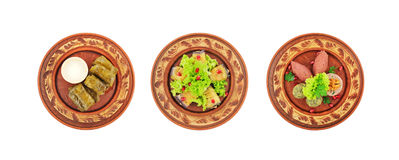Different kinds of dishes of Caucasian cuisine. Stock Photo