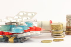 Different kinds of drugs and money Royalty Free Stock Photo