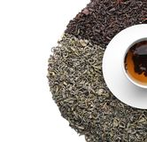 Different kinds of dry tea leaves and cup with hot beverage on white background, top view stock photo
