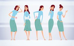 Different kinds of female diseases vector illustration. Different kinds of female diseases vector illustration Stock Image