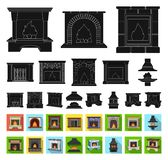 Different kinds of fireplaces black,flat icons in set collection for design.Fireplaces construction vector symbol stock. Illustration stock illustration