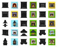Different kinds of fireplaces black,flat icons in set collection for design.Fireplaces construction vector symbol stock. Illustration vector illustration