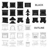 Different kinds of fireplaces black icons in set collection for design.Fireplaces construction vector symbol stock web. Different kinds of fireplaces black icons royalty free illustration