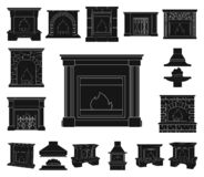 Different kinds of fireplaces black icons in set collection for design.Fireplaces construction vector symbol stock web. Different kinds of fireplaces black icons stock illustration