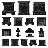 Different kinds of fireplaces black icons in set collection for design.Fireplaces construction vector symbol stock web. Different kinds of fireplaces black icons Stock Photo
