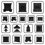 Different kinds of fireplaces black icons in set collection for design.Fireplaces construction vector symbol stock web. Different kinds of fireplaces black icons Stock Photos