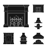Different kinds of fireplaces black icons in set collection for design.Fireplaces construction vector symbol stock web. Different kinds of fireplaces black icons Stock Image