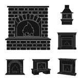 Different kinds of fireplaces black icons in set collection for design.Fireplaces construction vector symbol stock web. Different kinds of fireplaces black icons Royalty Free Stock Image