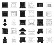 Different kinds of fireplaces black,outline icons in set collection for design.Fireplaces construction vector symbol. Stock illustration royalty free illustration
