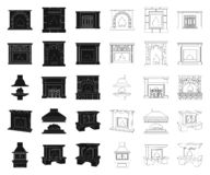 Different kinds of fireplaces black,outline icons in set collection for design.Fireplaces construction vector symbol. Stock  illustration stock illustration