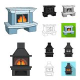 Different kinds of fireplaces cartoon,black,flat,monochrome,outline icons in set collection for design.Fireplaces. Construction vector symbol stock illustration vector illustration