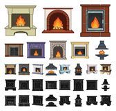 Different kinds of fireplaces cartoon, black icons in set collection for design.Fireplaces construction vector symbol. Stock illustration vector illustration