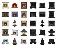 Different kinds of fireplaces cartoon,black icons in set collection for design.Fireplaces construction vector symbol. Stock illustration vector illustration
