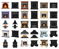 Different kinds of fireplaces cartoon,black icons in set collection for design.Fireplaces construction vector symbol. Stock illustration stock illustration