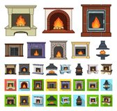 Different kinds of fireplaces cartoon,flat icons in set collection for design.Fireplaces construction vector symbol. Stock illustration stock illustration