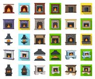 Different kinds of fireplaces cartoon,flat icons in set collection for design.Fireplaces construction vector symbol. Stock illustration royalty free illustration