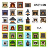 Different kinds of fireplaces cartoon icons in set collection for design.Fireplaces construction vector symbol stock web. Different kinds of fireplaces cartoon vector illustration