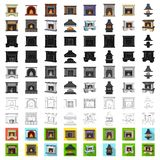 Different kinds of fireplaces cartoon icons in set collection for design.Fireplaces construction vector symbol stock web. Different kinds of fireplaces cartoon royalty free illustration