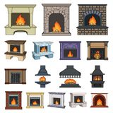 Different kinds of fireplaces cartoon icons in set collection for design.Fireplaces construction vector symbol stock web. Different kinds of fireplaces cartoon Royalty Free Stock Photography
