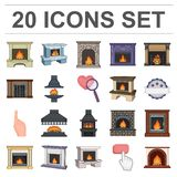 Different kinds of fireplaces cartoon icons in set collection for design.Fireplaces construction vector symbol stock web. Different kinds of fireplaces cartoon Royalty Free Stock Images