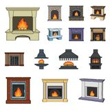 Different kinds of fireplaces cartoon icons in set collection for design.Fireplaces construction vector symbol stock web. Different kinds of fireplaces cartoon Stock Photography