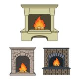 Different kinds of fireplaces cartoon icons in set collection for design.Fireplaces construction vector symbol stock web. Different kinds of fireplaces cartoon Stock Images