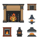 Different kinds of fireplaces cartoon icons in set collection for design.Fireplaces construction vector symbol stock web. Different kinds of fireplaces cartoon Stock Image