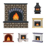 Different kinds of fireplaces cartoon icons in set collection for design.Fireplaces construction vector symbol stock web. Different kinds of fireplaces cartoon Royalty Free Stock Image