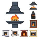 Different kinds of fireplaces cartoon icons in set collection for design.Fireplaces construction vector symbol stock web. Different kinds of fireplaces cartoon Stock Photo
