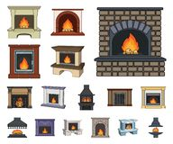Different kinds of fireplaces cartoon icons in set collection for design.Fireplaces construction vector symbol stock web. Different kinds of fireplaces cartoon stock illustration