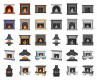 Different kinds of fireplaces cartoon,mono icons in set collection for design.Fireplaces construction vector symbol. Stock  illustration royalty free illustration
