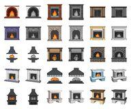 Different kinds of fireplaces cartoon,monochrom icons in set collection for design.Fireplaces construction vector symbol. Stock illustration vector illustration