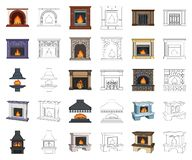 Different kinds of fireplaces cartoon,outline icons in set collection for design.Fireplaces construction vector symbol. Stock illustration vector illustration
