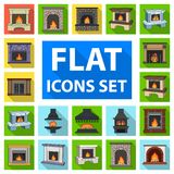 Different kinds of fireplaces flat icons in set collection for design.Fireplaces construction vector symbol stock web. Different kinds of fireplaces flat icons Royalty Free Stock Photo