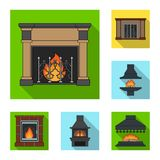Different kinds of fireplaces flat icons in set collection for design.Fireplaces construction vector symbol stock web. Different kinds of fireplaces flat icons Stock Image