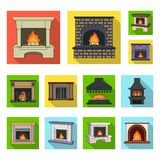 Different kinds of fireplaces flat icons in set collection for design.Fireplaces construction vector symbol stock web. Different kinds of fireplaces flat icons Royalty Free Stock Photos