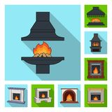 Different kinds of fireplaces flat icons in set collection for design.Fireplaces construction vector symbol stock web. Different kinds of fireplaces flat icons Stock Photo