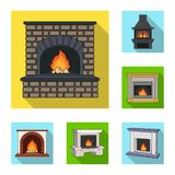 Different kinds of fireplaces flat icons in set collection for design.Fireplaces construction vector symbol stock web. Different kinds of fireplaces flat icons Royalty Free Stock Image