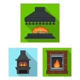 Different kinds of fireplaces flat icons in set collection for design.Fireplaces construction vector symbol stock web. Different kinds of fireplaces flat icons Royalty Free Stock Images
