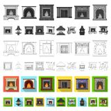 Different kinds of fireplaces flat icons in set collection for design.Fireplaces construction vector symbol stock web. Different kinds of fireplaces flat icons royalty free illustration
