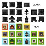 Different kinds of fireplaces flat icons in set collection for design.Fireplaces construction vector symbol stock web. Different kinds of fireplaces flat icons stock illustration
