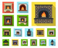 Different kinds of fireplaces flat icons in set collection for design.Fireplaces construction vector symbol stock web. Different kinds of fireplaces flat icons vector illustration