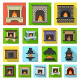 Different kinds of fireplaces flat icons in set collection. For design.Fireplaces construction vector symbol stock  illustration Stock Photos