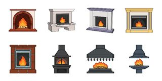 Different kinds of fireplaces icons in set collection for design.. Different kinds of fireplaces icons in set collection for design.Fireplaces construction Stock Images
