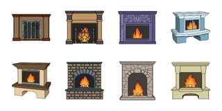 Different kinds of fireplaces icons in set collection for design.Fireplaces construction vector symbol stock web. Different kinds of fireplaces icons in set Royalty Free Stock Images